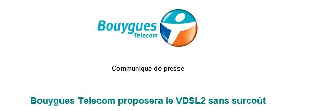 Bouygues Telecom propose VDSL2