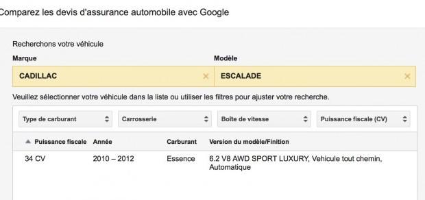 Comparateur assurances Google