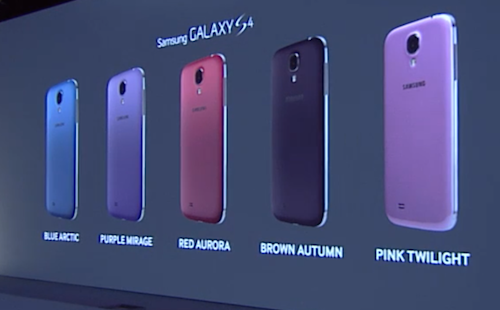 Samsung Galaxy S4 en couleurs